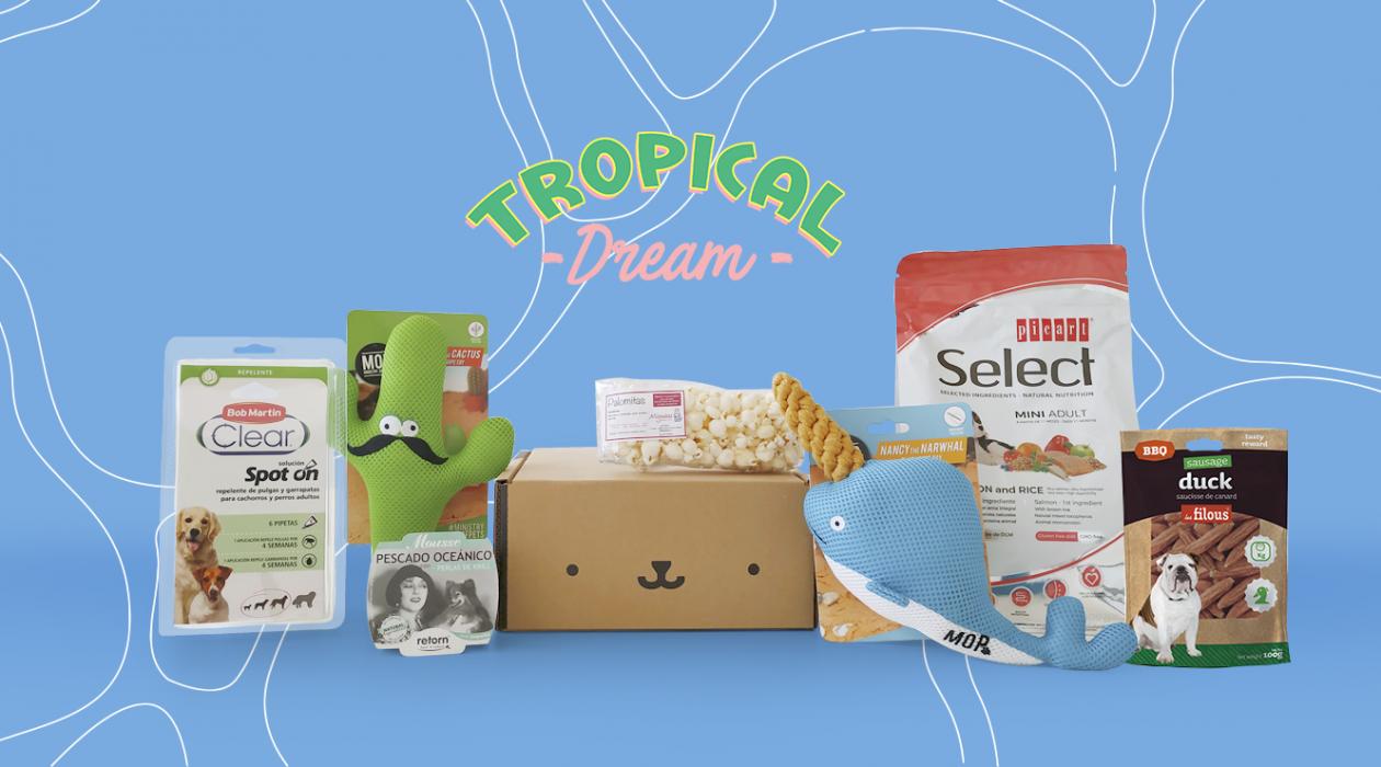 caja de septiembre con productos Tropical Dream